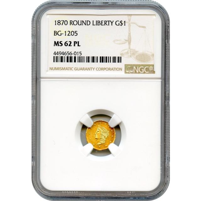 BG-1205 G$1 1870 California Fractional, Liberty Round NGC MS62PL R4+