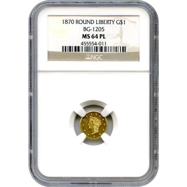 BG-1205 G$1 1870 California Fractional, Liberty Round NGC MS64PL R4+