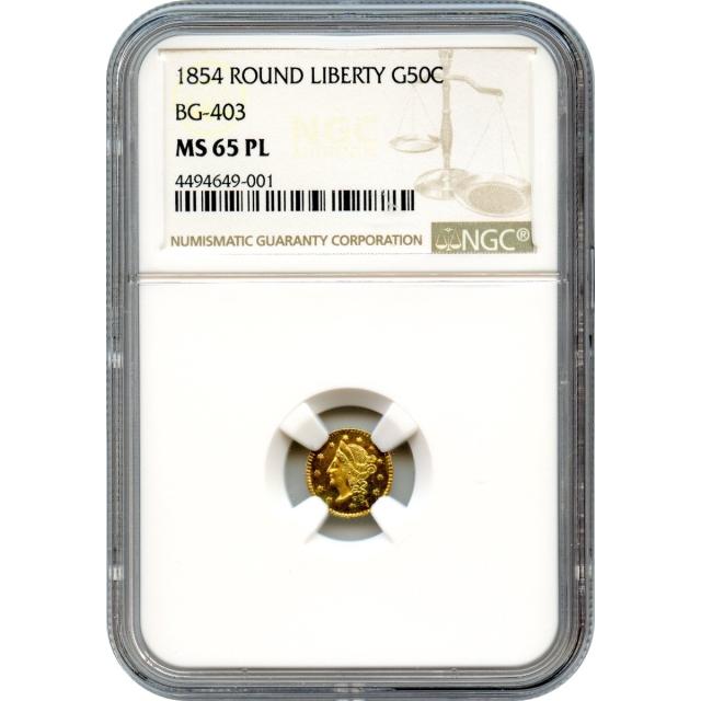 1854 California Gold Rush Circulating Fractional Gold 50C, BG-403 Liberty Round NGC MS65PL R7
