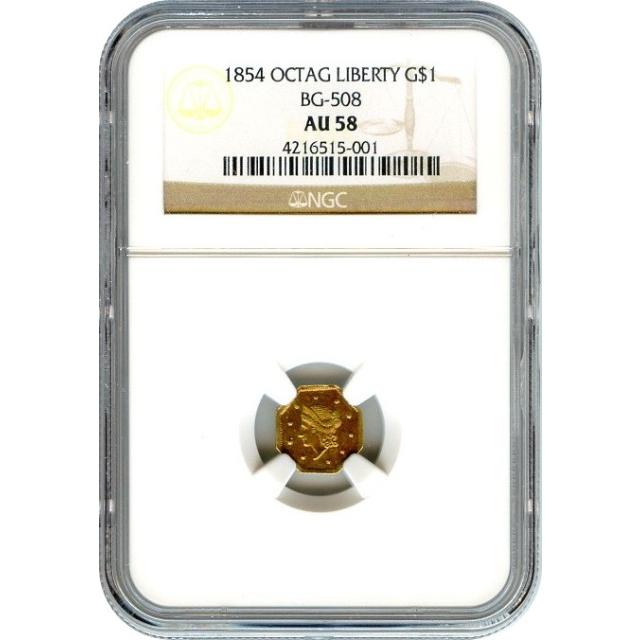 1854 California Gold Rush Circulating Fractional Gold G$1, BG-508 Liberty Octagonal NGC AU58 R4+ - color!