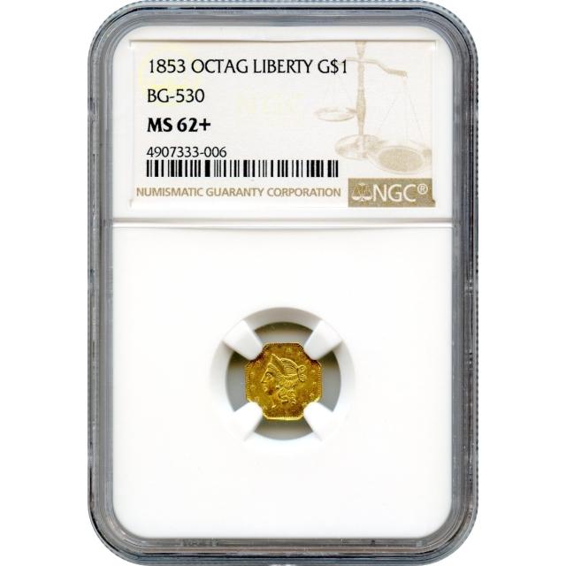 1853 California Gold Rush Circulating Fractional Gold G$1, BG-530 Liberty Octagonal NGC MS62+ R3