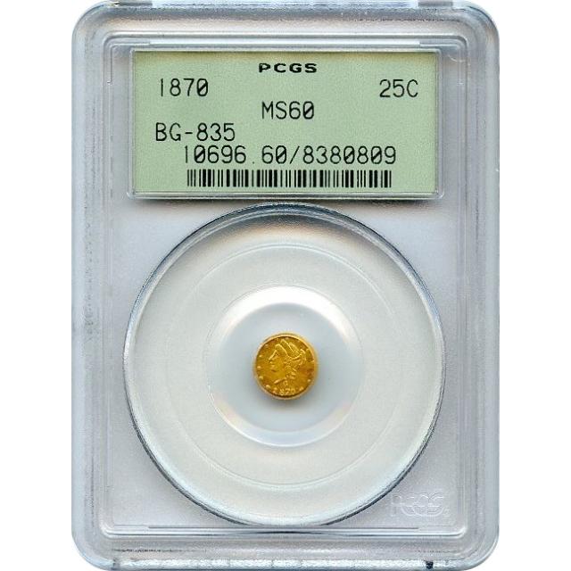BG- 835 G25C 1870 California Fractional, Liberty Round PCGS MS60 R3