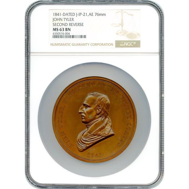 Indian Peace Medal - 1841-dated John Tyler,  J-IP-21, Bronze 76mm NGC MS-63 BN
