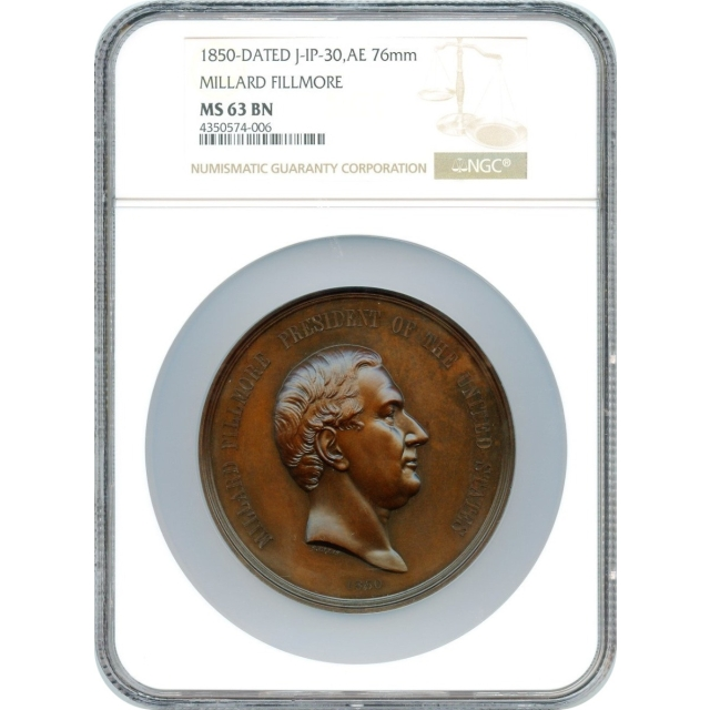 Indian Peace Medal - 1850-dated Millard Fillmore,  J-IP-30, Bronze 76mm NGC MS-63 BN