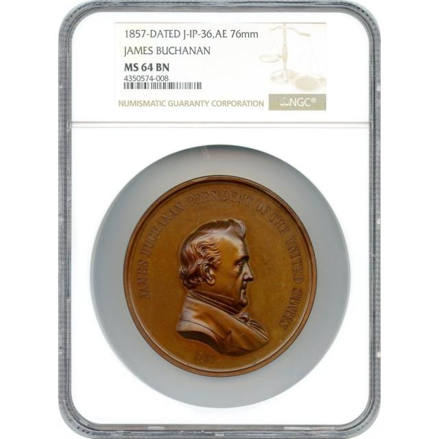 Indian Peace Medal - 1857-dated James Buchanan,  J-IP-36, Bronze 76mm NGC MS-64 BN