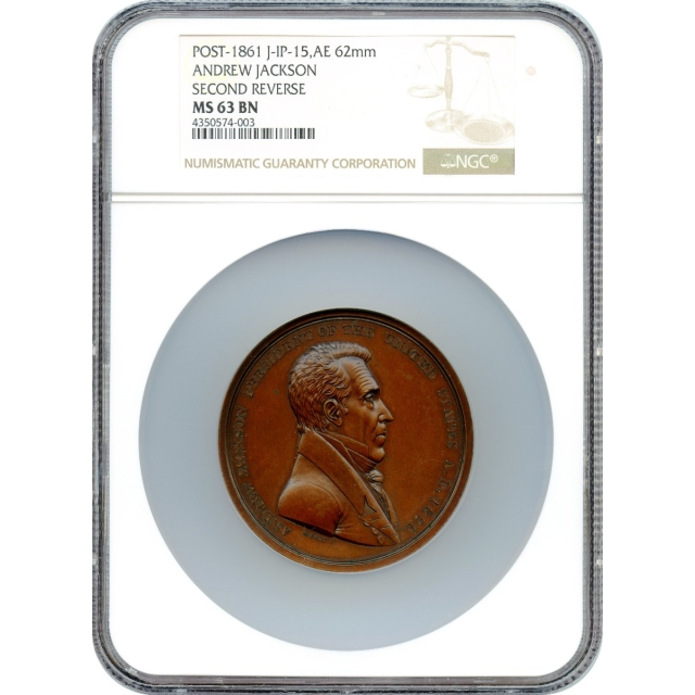 Indian Peace Medal - 1829-dated Andrew Jackson,  J-IP-15, Bronze 62mm NGC MS-63 BN