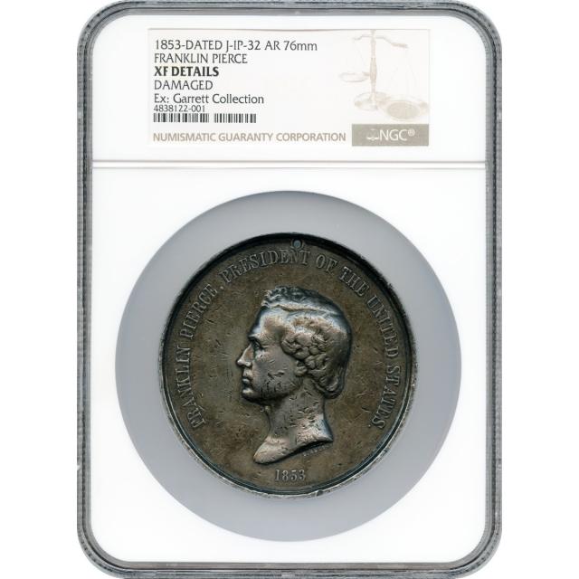 Indian Peace Medal - 1853-dated Franklin Pierce,  J-IP-32, Silver 76mm VF Ex.Garrett