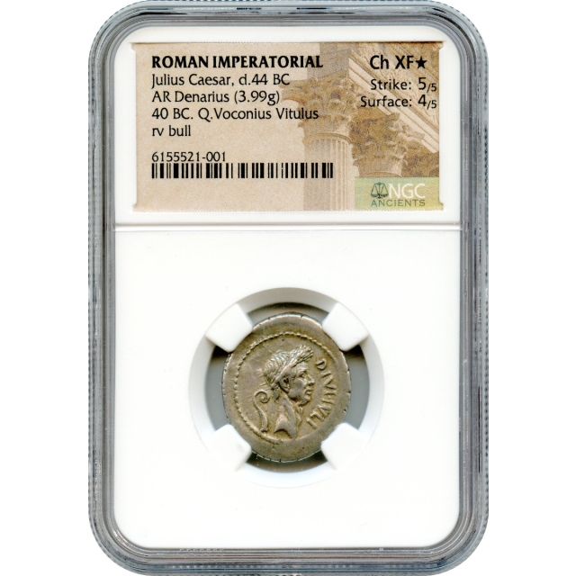 Ancient Roman Republic - 40 BCE Julius Caesar AR Denarius NGC Choice XF* (STAR)