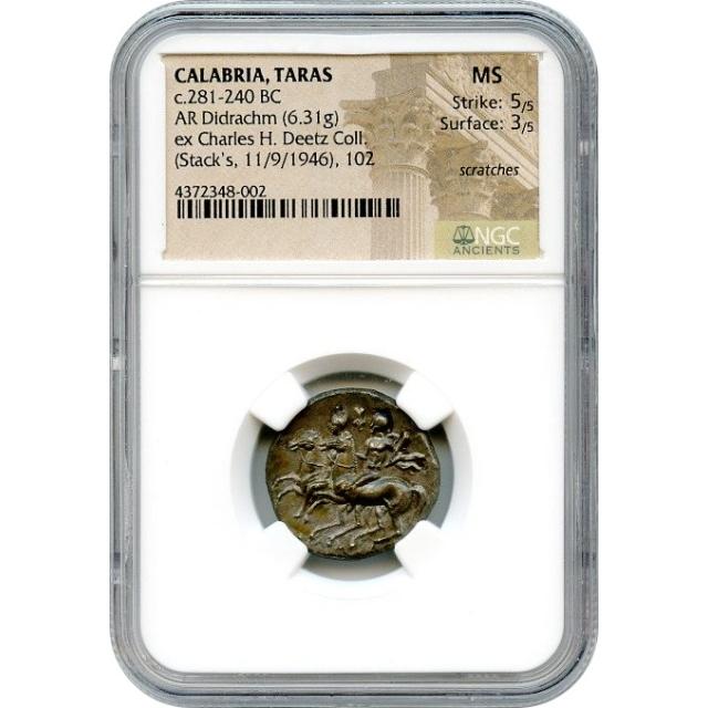 Ancient Greece - 281-240 BC Calabria, Taras AR Didrachm NGC MS