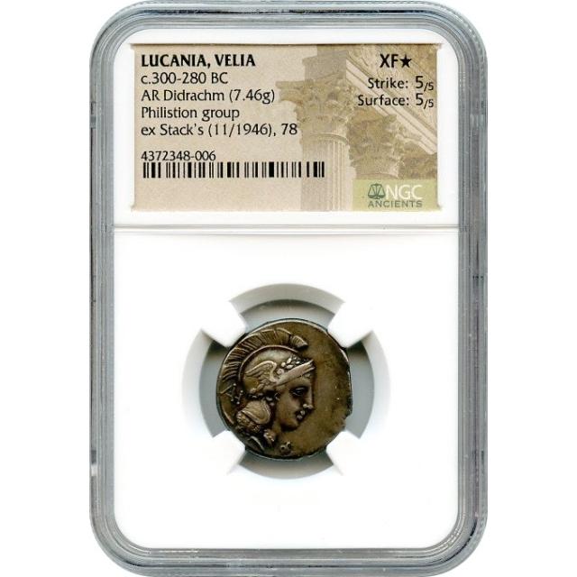 Ancient Greece - 300-280 BCE Lucania, Velia AR Didrachm NGC XF★