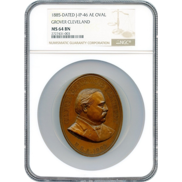 Indian Peace Medal - 1885-dated Grover Cleveland,  J-IP-46 Bronze Oval NGC MS-64 BN