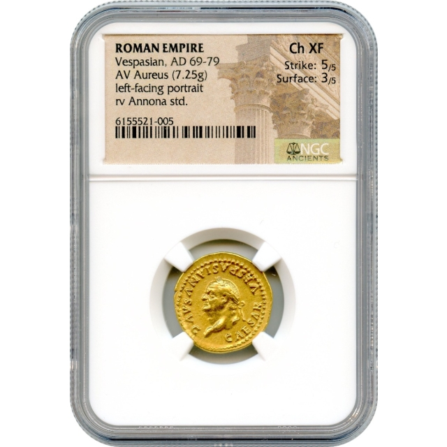 Ancient Rome - 69-79 CE Vespasian AV Aureus NGC Choice XF